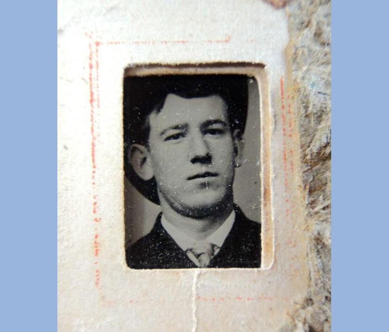 Antique Victorian tiny photograph album of portrait photographs- 3 cm x 3.8 cm